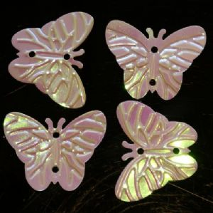 Clearance Bulk Bag x 500 22mm Opaque Iridescent White Butterfly Sequins. SAVE £6